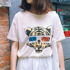 Oaksa - 老虎印花短袖T恤