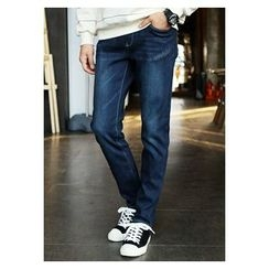 HOTBOOM - Straight-Cut Washed Jeans