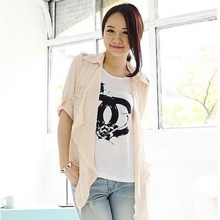 D.P-Shop - Tab-Sleeve Studded Chiffon Jacket