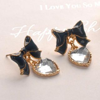 Fit-to-Kill - Bowknot Crystal Heart Earrings - Black