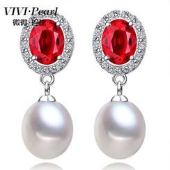 ViVi Pearl - Freshwater Pearl Sterling Silver Embellished Earrings