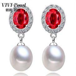 ViVi Pearl - 淡水珍珠纯银宝石耳环