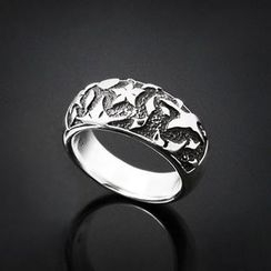 Sterlingworth - Moon and Flower Tinted Sterling Silver Ring