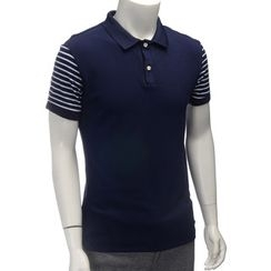 YesStyle M - Striped Sleeve Polo Shirt