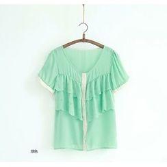 11.STREET - Frilled Short-Sleeve Blouse
