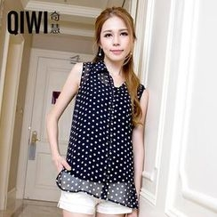 QIWI - Polka Dot Chiffon Sleeveless Blouse