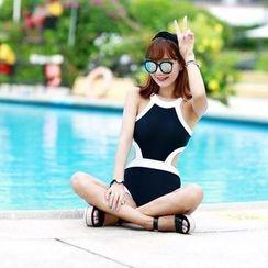Shanyoo - Contrast Trim Swimsuit