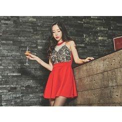 UUZONE - Sleeveless Lace-Trim A-Line Mini Dress
