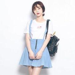 LULUS - Detachable Suspender Zip-Front Denim Skirt