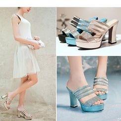 Freesia - Rhinestone Chunky Heel Slide Sandals