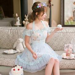 Candy Rain - Floral Print Chiffon Off Shoulder Short Sleeve Dress
