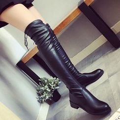 SouthBay Shoes - Faux Leather Over The Knee Boots