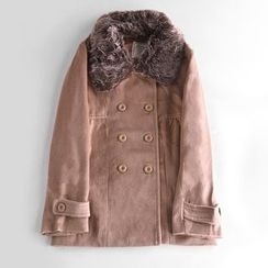 Richcoco - Furry Trim Double Breasted Woolen Coat
