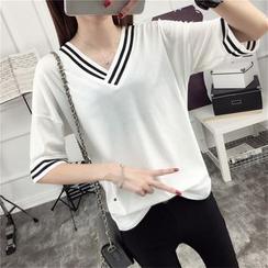 Ukiyo - Stripe Trim V-Neck Elbow-Sleeve T-Shirt