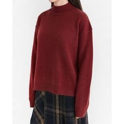 Someday, if - Mock-Neck Wool Blend Knit Top