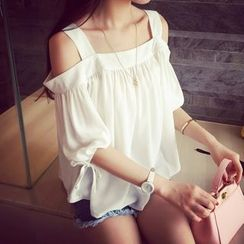 MayFair - Plain Off-Shoulder Elbow-Sleeve Top