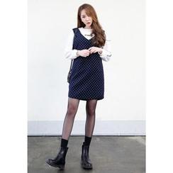 Dalkong - Sleeveless Dotted Shift Mini Dress