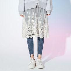 Heynew - Embroidered Organza Long-Sleeve Midi Dress
