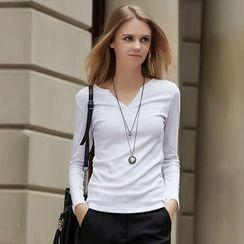 Ranee - Long-Sleeve Notched Neck T-Shirt