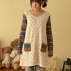 Moriville - Pattern Knit Panel Long T-Shirt