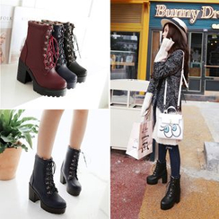 Shoes Galore - Lace-Up Chunky Heel Platform Short Boots