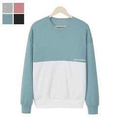 DANGOON - Color-Block Lettering Sweatshirt