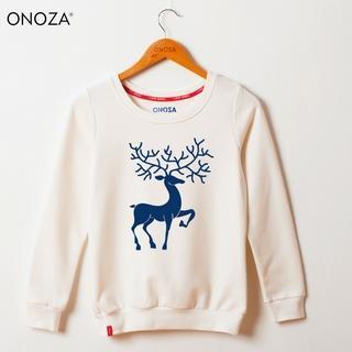 Onoza - Long-Sleeve Reindeer-Print Pullover
