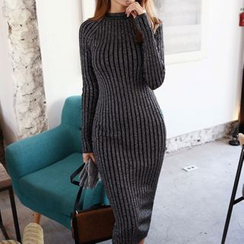 DABAGIRL - Glitter Rib-Knit Long Bodycon Dress