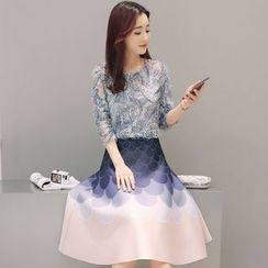 Lovi - Set: Sequin Elbow-Sleeve Top + Printed Midi Skirt