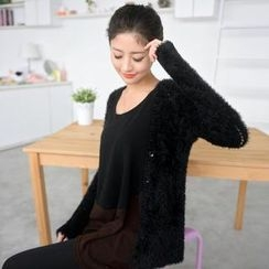 59 Seconds - Furry Knit Long Cardigan