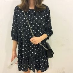 MATO - Dotted Elbow-Sleeve Dress