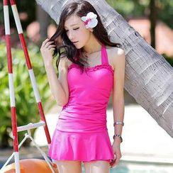 Rachel Swimwear - Frill-Trim Halter Swimsuit