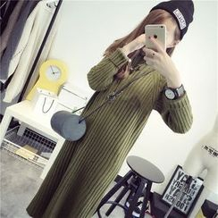 Qimi - Long-Sleeve Plain Knit Dress