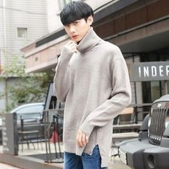 TOMONARI - Turtle-Neck Dip-Back Wool Blend Knit Top