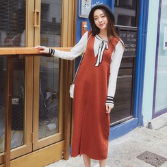 AC - Slit-Hem Sleeveless Wool Dress