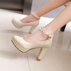 Gizmal Boots - Faux Pearl Ankle Strap Pumps