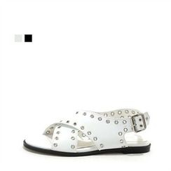 MODELSIS - Genuine Leather Perforated-Strap Sandals