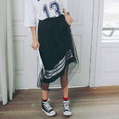 SUYISODA - Tulle Overlay Midi Skirt