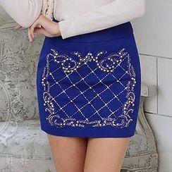 Dabuwawa - Wool-Blend Embellished Pencil Miniskirt