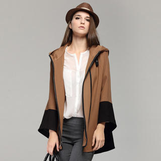 YiGelila - Hooded Contrast-Trim Cape Jacket