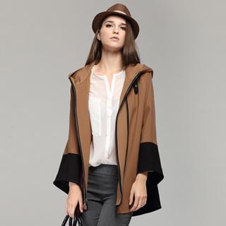 YiGelila - Hooded Contrast-Trim Cape Jacket