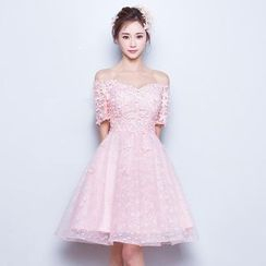 Fantasy Bride - Off-shoulder Lace Mini Prom Dress