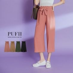 PUFII - Wide Leg Chiffon Pants