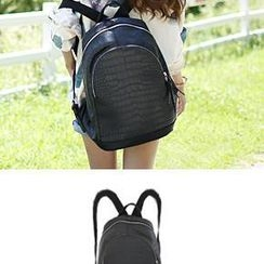 Bongjashop - Zipped Croc-Grain Backpack