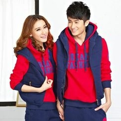 Bonne Nuit - Couple Matching Set: Letter Hoodie + Vest + Sweatpants