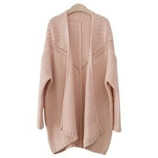 PEPER - Open-Front Mixed-Pattern Knit Cardigan