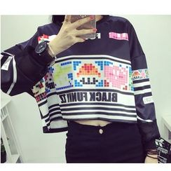 MATO - Long-Sleeve Printed Cropped Top