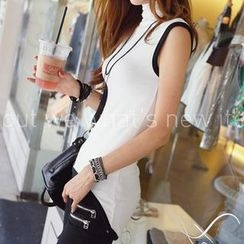 REDOPIN - Turtleneck Piping-Accent Sleeveless Top