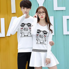 Igsoo - Couple Matching Print Long-Sleeve T-Shirt / Long-Sleeve A-Line Dress