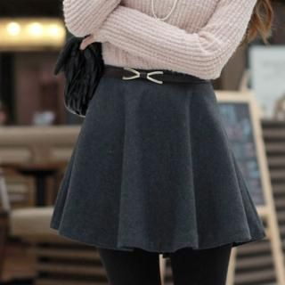 Wool Blend A-Line Miniskirt